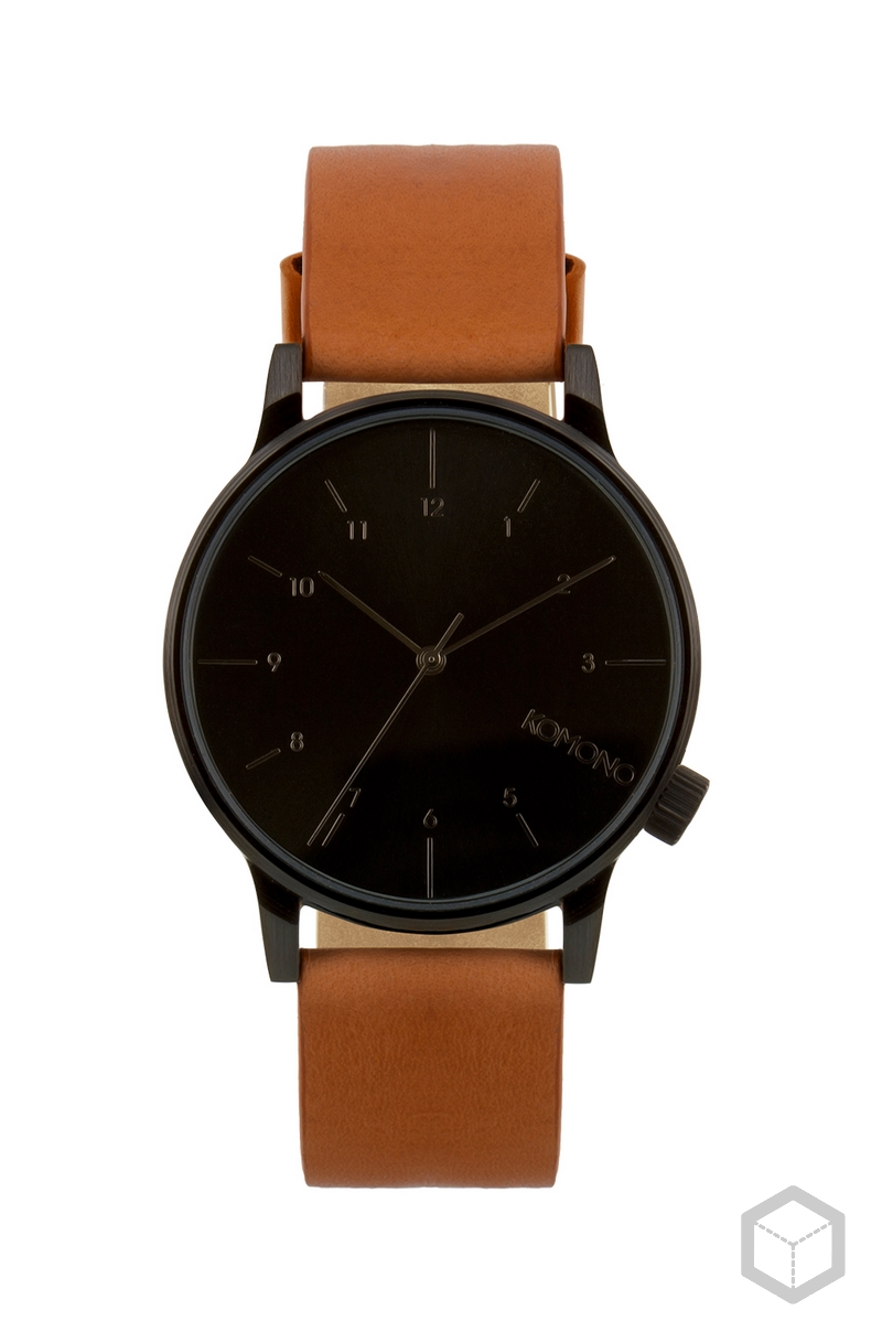 Komono Winston All Black + Cognac Strap All Black