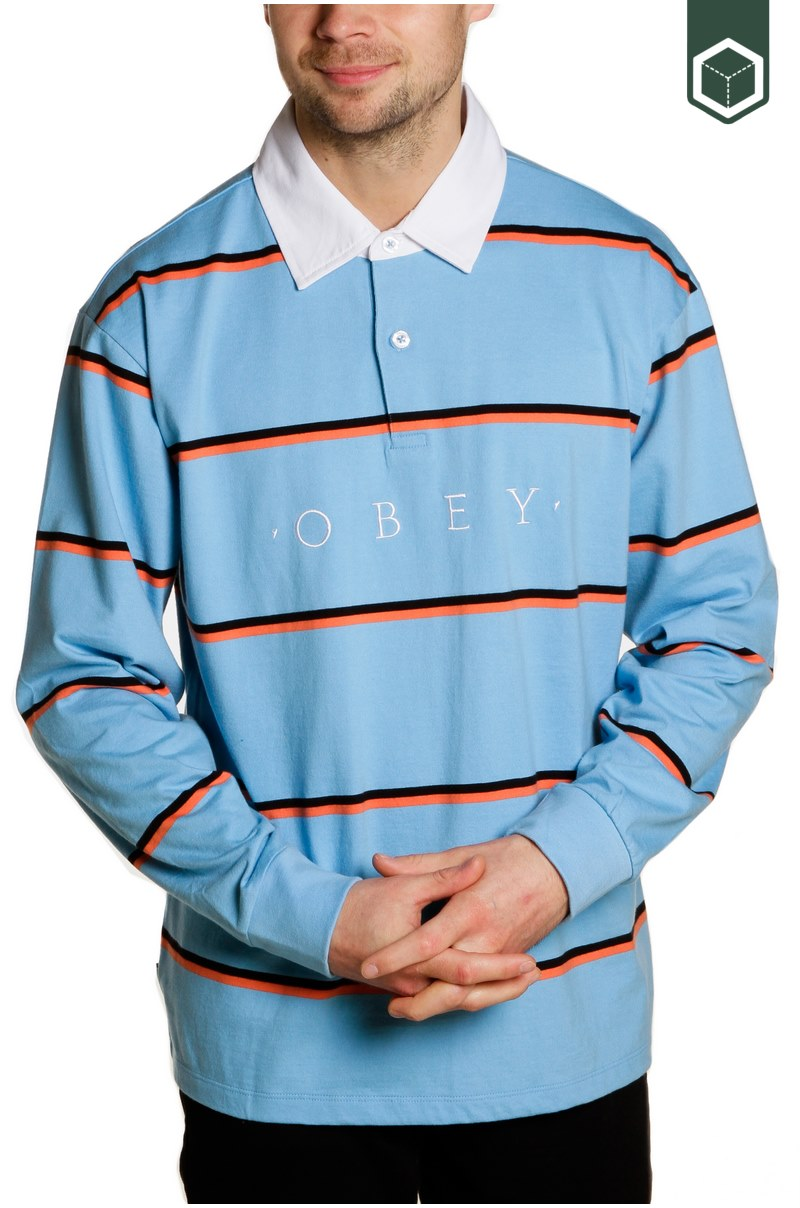 Obey Washer Classic Polo LS Light Blue Multi