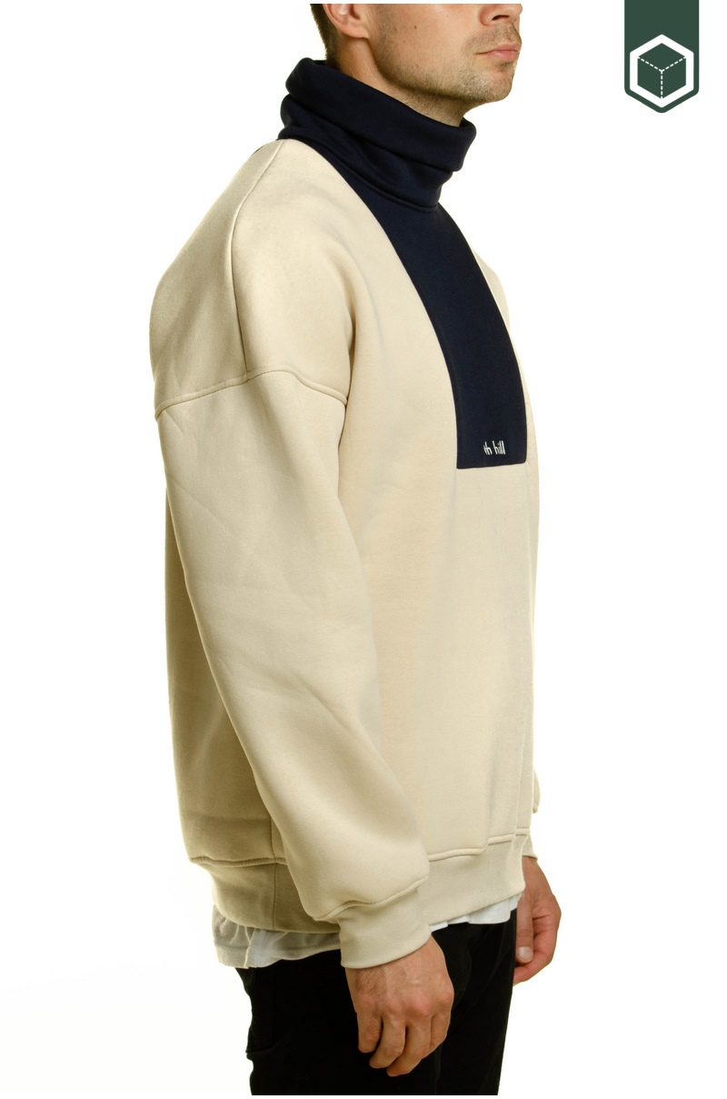 North Hill Colorblock Logo Turtleneck Beige/Navy