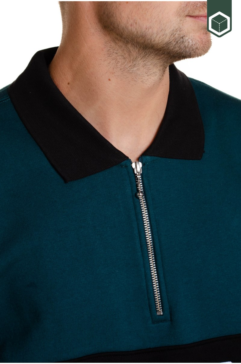 Obey Baron Zip Crew Polo  Deep Teal Multi