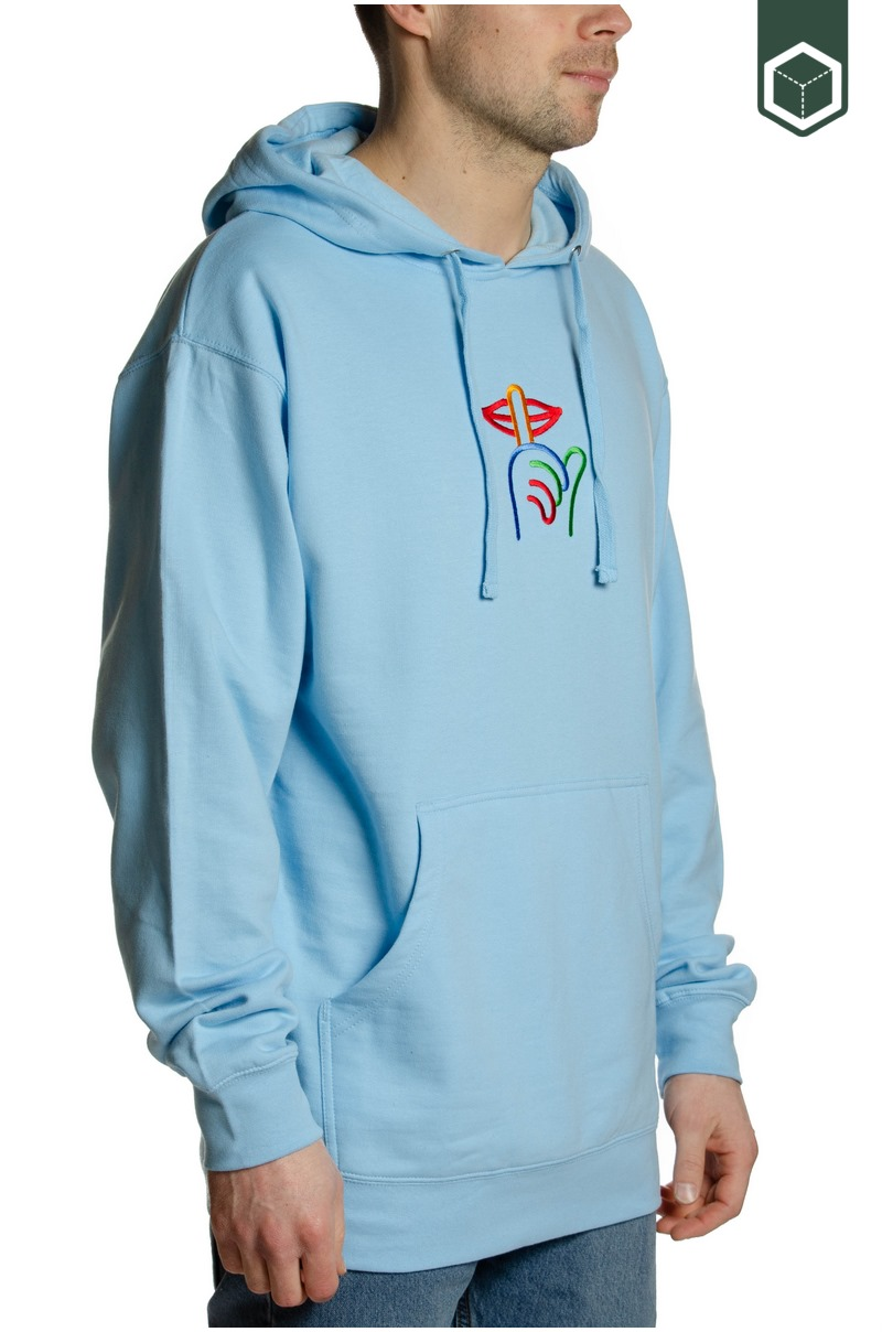Quiet Life Rainbow Shhh Embroidered Hood Blue
