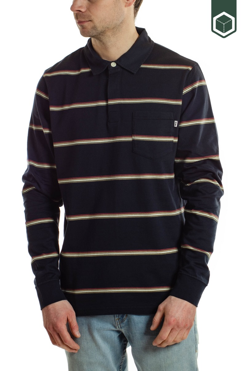 Wood Wood Beck Polo Long Sleeve Navy Stripes