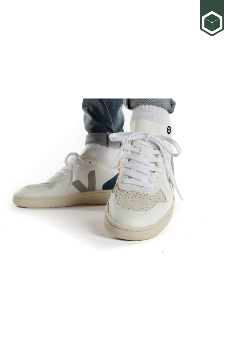 Veja V-10 Leather Extra White Oxford Grey Orange Fluo